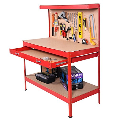 Red Working Bench With Drawer And Peg Board Work Bench Tool Storage Steel Hanging Tool Workshop Table Two Roll Out Drawers Bottom Shelf For Storing Heavy Duty Tools Garage Shop by Auténtico