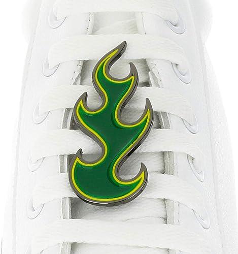 Schnürsenkel Anhänger mit grüner Flamme, für Nike, Adidas