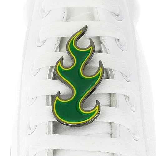 Ciondolo a forma di laccio da scarpe con fiamma verde