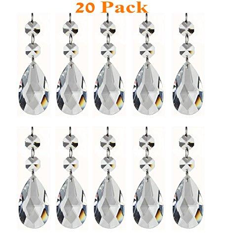 GYBest Teardrop Chandelier Clear Crystal Pendants Glass Pendants Beads (20-Pack) ()