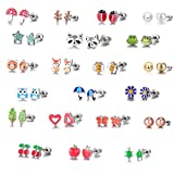 Kyпить 21 Pairs Stainless Steel Mixed Color Cute Animals Fox Heart Star Ladybug Bee Frog Mushroom Tree Daisy Umbrella Rose Gold White Pearl Stud Earrings Set (animal tree pearl) на Amazon.com