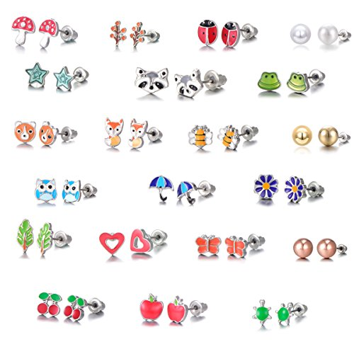 Pearl Daisy Ring - 21 Pairs Stainless Steel Mixed Color Cute Animals Fox Heart Star Ladybug Bee Frog Mushroom Tree Daisy Umbrella Rose Gold White Pearl Stud Earrings Set (animal tree pearl)