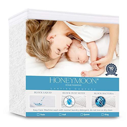 HONEYMOON HOME FASHIONS Queen Mattress Protector 100% Waterproof Fitted Up to 24″ Deep Pocket Vinyl Free, Hypoallergentic, 10 Year Warranty