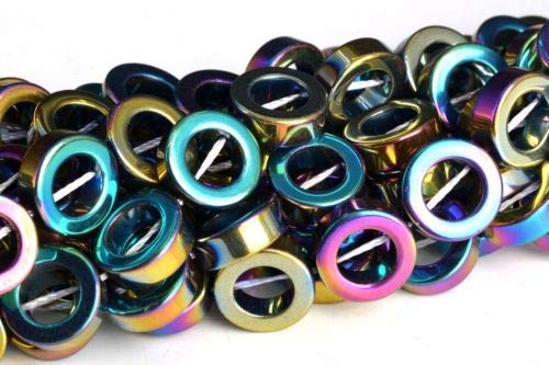 Best Vnox Friend Crystal Necklaces - 12mm Rainbow Hematite Rim Halo Circle