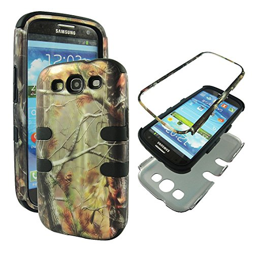 Samsung Galaxy S3 Camo - Hybrid 3 in 1 Black Camo Pine Samsung Galaxy S3 / S 3 / III i9300 High Impact Shock Defender Plastic Outside with Soft Silicon Inside Drop Defender Snap-on Cover Case