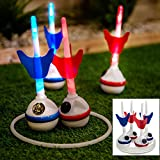 Fineway. Coloured Led Giant Garden Darts Ring Outdoor Throwing Family Fun Party Lawn Bbq Game – Glow In the Dark Indoor – Outdoor Family Fun Game - Comes with 4 Darts and 4 Rings