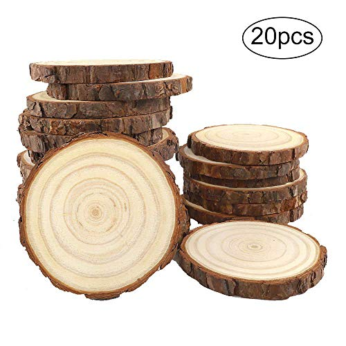 CEWOR Natural Wood Slices 20pcs 4.0-4.7 Inches Round Circles Unfinished Tree Bark Log Discs for DIY Crafts Christmas Ornaments Rustic Wedding - Tree Wood Natural