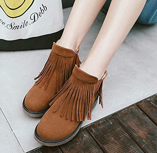 Aisun Zip Cheville Rond Chelsea Avec Femme Brun Frange Bout Boots Classique 7xFa7qzwr