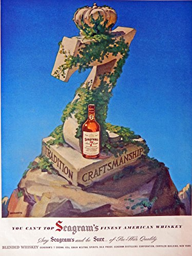 Seagram's 7 Crown Whiskey, 40's Vintage Print Ad. Color Illustration, Original Rare 1947 Life Magazine Art