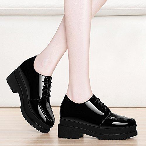 Solo Zapatos De Moda De Al Impermeable Cuero Espesa Negro Y Taiwán Zapatos Negro AJUNR Mujer De Heeled Pintura High De 6Cm De Zapato Viento Zapatos Bizcocho Mujer Mujer Casual 36 36 Casual Zapatos OZq8wxd