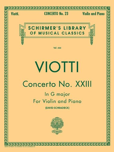 Concerto No. 23 in G Major: For Violin and - Strings Schirmer G Violin