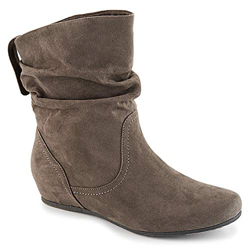 Women's Fashion Mid Calf Round Toe Slouch Comfort Casual Flat Boot