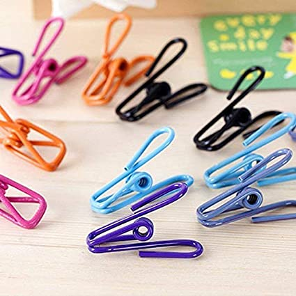 20pcs Paper Document use Chip Clips URBEST Clothespins Clothesline Clips Clothes Bags Colorful Multi-Purpose Plastic-Coated Metal Clips