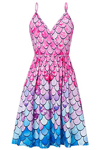 RAISEVERN Women's V Neck Dress Pink Fish Scale Print Adjustable Spaghetti Strap Midi Dresses Summer Mermaid Flared Swing Dress with Pocket ()