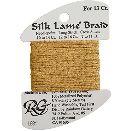 [Rainbow Gallery Silk Lame Braid Metallic Needlepoint Thread Golds, True Gold  - LB94] (Costumes Gallery In Stock)