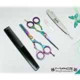 "Macs Professional Barber Scissor Razors Edge Hair Cutting Scissors Set Contain 5 Pcs 6"" Barber Shears W/ 6"" Texturizing Shears Set Made Of Japanese High Grade Stainles Steel With Exchangeable Blade Razors And Comb And Bottle Of Oil And Cloth -15029"