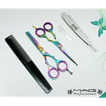 """Macs Professional Barber Scissor Razors Edge Hair Cutting Scissors Set Contain 5 Pcs 6"""" Barber Shears W/ 6"""" Texturizing Shears Set Made Of Japanese High Grade Stainles Steel With Exchangeable Blade Razors And Comb And Bottle Of Oil And Cloth -15029"""