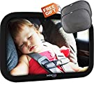 Baby Car Seat Mirror, Best Infant Rear Facing Baby Car Mirror, Large Baby BackSeat Mirror with a Pair of Bonus Sunshade, This Mirror is Crystal Clear, with 360 Degree Adjustment Flexibility
