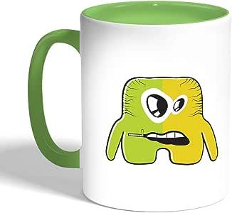 كوب سيراميك للقهوة، لون اخضر، بتصميم رسوم كرتونية