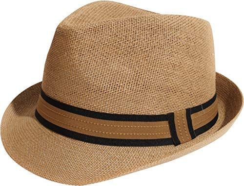 Enimay Unisex Vintage Fedora Hat Classic Timeless Light Weight (L/XL, Tanband Brown)