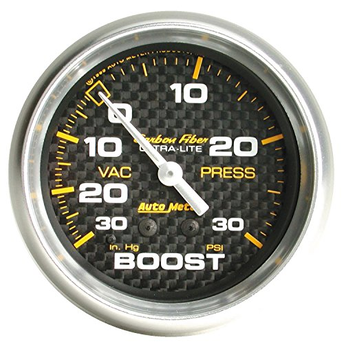Auto Meter 4803 Carbon Fiber Mechanical Boost/Vacuum Gauge Carbon Fiber Mechanical Boost