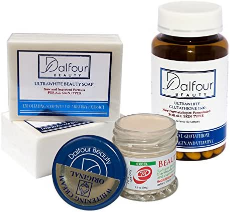 Dalfour Beauty Face Whitening Set with Ultrawhite Soap, Excel Cream and Glutathione Capsules