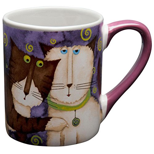 Animal World - Cats Surrounded By Swirls Coffee Mug - Purple (Gibson Costume Shop)