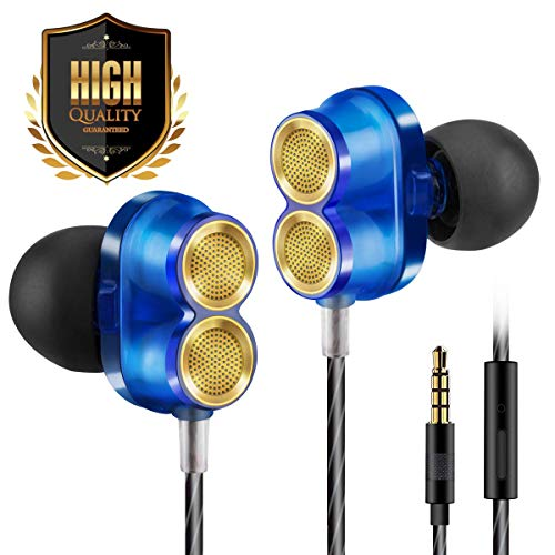 Earphones Headphones Earbuds Ear Buds in Ear Headphones Wired Earphones with Microphone Mic Stereo and Volume Control Waterproof Metal Wired Earphone for Phone Mp3 Players -