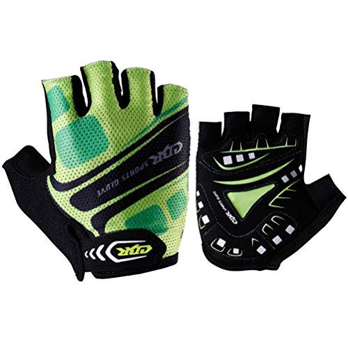 CBR Outdoor Sports Cycling Gloves Half Finger Biking Gloves Short Finger Gel Anti-vibration Green,S - Ladies Cbr