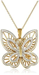Yellow Gold-Plated Sterling Silver Diamond-Accented Butterfly Pendant Necklace, 18""