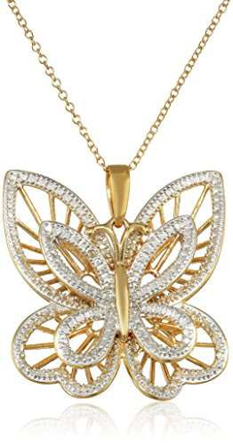 18k Yellow Gold Plated Sterling Silver Diamond Accent Butterfly Pendant Necklace, 18