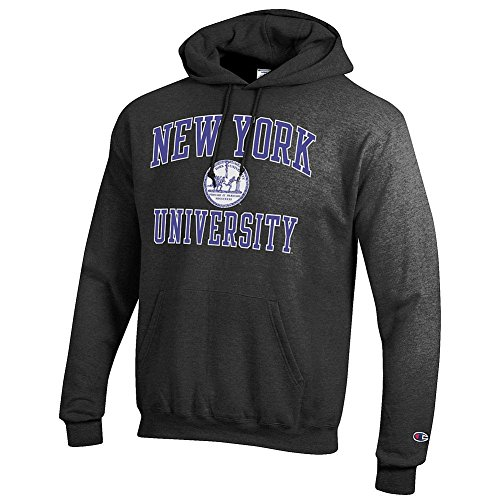 New York University Violets Hooded Sweatshirt Seal Charcoal   L