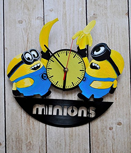 Handmade Cartoons Pixar Characters Design - HANDPAINTED Vinyl Record Wall Clock - Get Unique Bedroom or Living room Wall Decor - Gift Ideas For His and Her - Unique Fan Art
