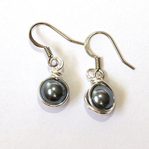 (Dark Gray Simulated Pearl Wire Wrapped Dangle Earrings - Handmade Jewelry)