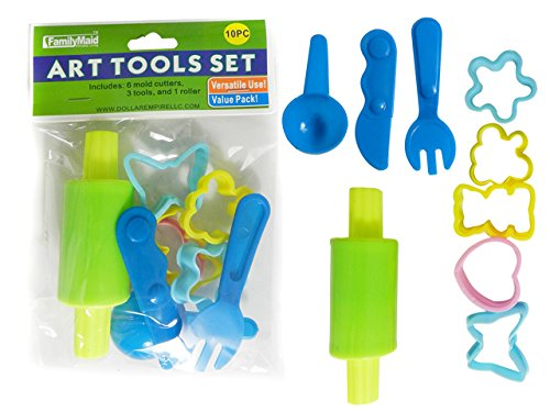 DollarItemDirect 10 pcs Art Tools Set Includes Cutters, Rolling Pin, Scoop, and More, Case of 144