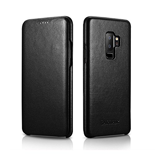 Galaxy S9 Plus Leather Case, Bpowe ICARER Luxury Series Premium Genuine Leather Side-Open Folio Flip Magnetic Closure Protection Case Cover for Samsung Galaxy S9 Plus (Black)