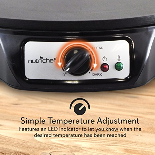 Electric Griddle Crepe Maker Cooktop - Nonstick 12 Inch Aluminum Hot Plate with LED Indicator Lights & Adjustable Temperature Control - Wooden Spatula & Batter Spreader Included - NutriChef PCRM12 by NutriChef (Image #5)