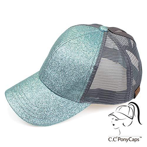 C.C Hatsandscarf Ponytail caps Messy Buns Trucker Plain Baseball Cap (BT-6) (Glitter-Mint) ()