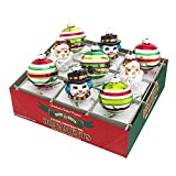 Radko Shiny Brite Holiday Splendor Santa & Snowman with Decorated Rounds Glass Ornaments