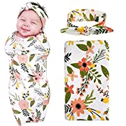 Newborn Floral Swaddle BQUBO Receiving Blanket with Headbands Sleepsack Toddler Warm Baby Shower Gift(Pack 1)