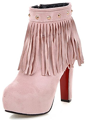 Summerwhisper Women's Sexy Fringes Rivets Round Toe Side Zipper Booties Chunky High Heel Hidden Platform Ankle Boots