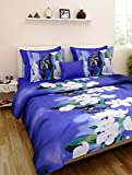 Homefab India Super 3D 140 TC Polycotton Double Bedsheet with 2 Pillow Covers - Modern, Multicolour