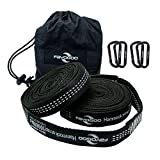 Fayogoo Hammock Straps, XL Hammock Tree Straps,2000 LBS+ Heavy Duty with 36 Loops 100% No Stretch Polyester & 4 Premium Carabiners, Quick&Easy Setup Best Suspension System (Black and White)