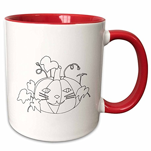 3dRose CherylsArt Holidays Halloween - Outline drawing of a pumpkin with a cute cat face for Halloween - 15oz Two-Tone Red Mug (mug_223208_10)