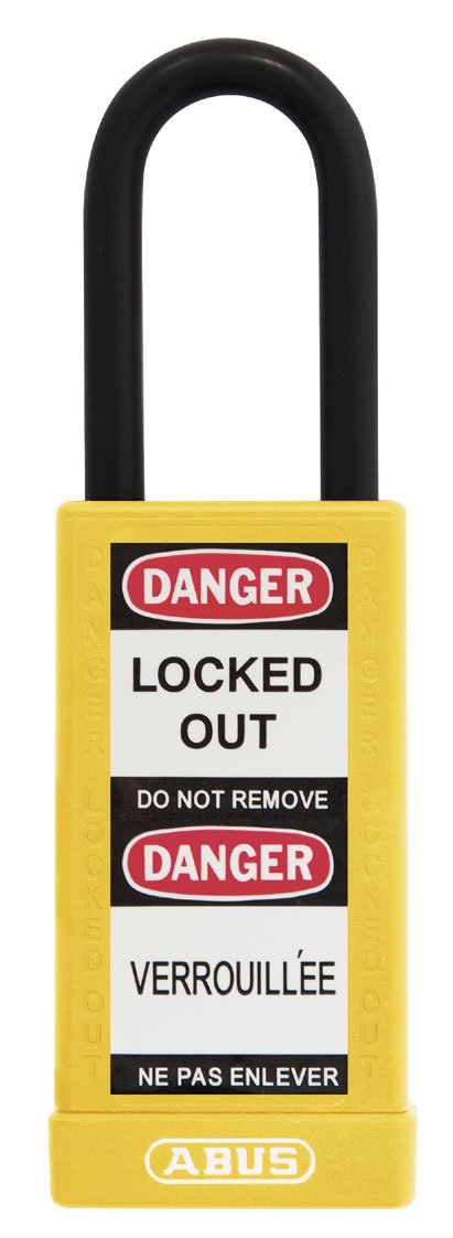 ABUS 74LB/40 KD Safety Lockout Non-Conductive Keyed Different Padlock with 3-Inch Body and 1-1/2-Inch Shackle, Yellow