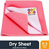 BeyBee Waterproof Baby Bed Protector Dry Sheet for New Born Babies (Small (50cm X 70cm), Salmon Rose)