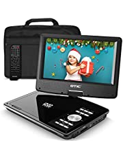 Otic 9.0 Bluetooth Portable DVD Player for Car & Kids, 5H Rechargeable Battery, Swivel Screen, Supports CD/DVD/SD Card/USB/Sync TV (Car Headrest Case,Car Charger,Headphone, Remote Control), Black