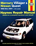 Mercury Villager and Nissan Quest, 1993-2001, Jeff Kibler and John Haynes, 156392448X