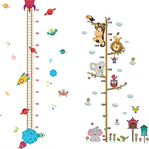 2PCS Height Growth Chart Sticker Removable Hanging Rulers Animals Spaceship Rocket Wall Decal Decoration for ()