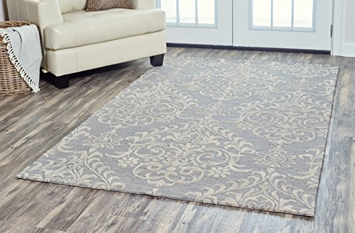 Rizzy Home | Arden Loft-Falmouth Fields Collection | Wool | Gray/Ivory Damask Area Rug | 8' x 10'